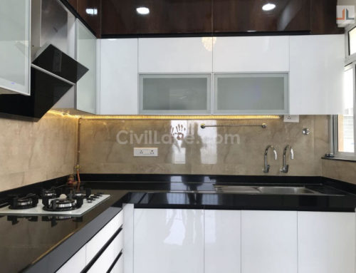 L-Shaped Modular Kitchen Design, Acrylic Finish – Pune